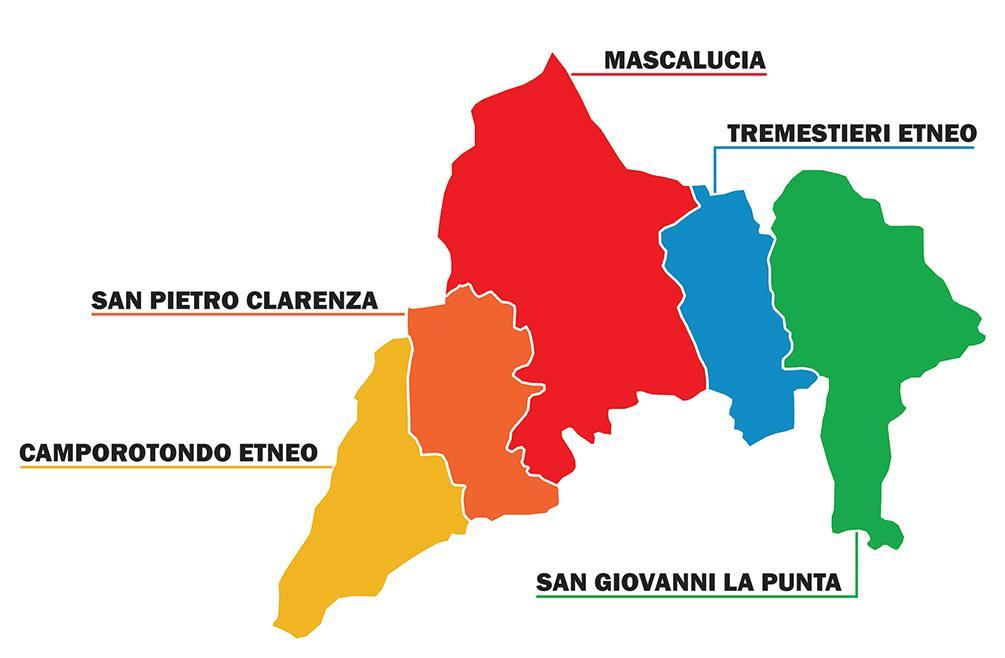 Area GAL EtnaSud e i 5 Comuni che lo compongono