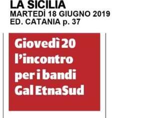 La Sicilia. Giovedì 20 l'incontro per i bandi Gal EtnaSud